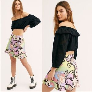 Free People Phoebe Printed Mini Skirt/Sugar&Spice
